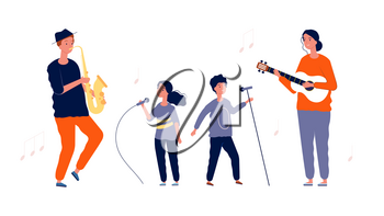 Children singers. Music and vocal lessons for children. Artists girl boy with microphones and adult musicians. Performance of singer vector illustration. Singer boy and girl, music vocal performance
