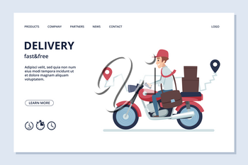 Delivery vector banner. Delivery man on motorcycle with parcels. Fast and free express, quick motorbike illustration