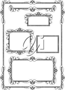 Set of various artistic ornamental frame label designs in same style.