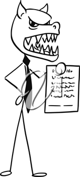 Cartoon stick man illustration of werewolf businessman salesman with fox or wolf head and agreement to sign in hand.