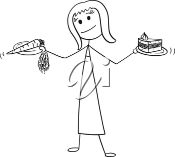 Cartoon stick man drawing conceptual illustration of woman with healthy vegetable carrot and unhealthy cake in hands. Concept of lifestyle and food decision.