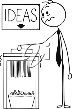 Cartoon stick man drawing conceptual illustration of businessman using office paper shredder with ideas sign above.