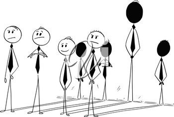 Cartoon stick man drawing conceptual illustration of four businessmen and their shadow on the wall. Concept of business individuality contribution.