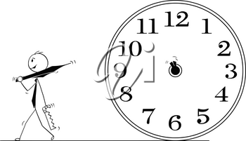 Cartoon stick man drawing conceptual illustration of businessman who removed clock hands to stop time. Business concept of deadline and stress.