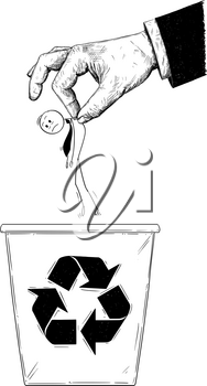 Cartoon stick man drawing conceptual illustration of businessman or office worker thrown into recycle trash bin by giant hand. Business concept of career end and failure.