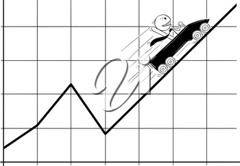 Cartoon stick man drawing conceptual illustration of businessman in roller coaster moving fast up on the chart or graph. Business concept of success and growth.