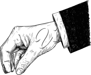 Vector artistic pen and ink drawing illustration of businessman hand in suit holding something small between pinch fingers.