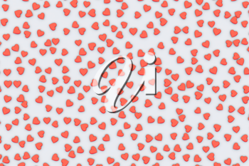 Valentine's Day abstract 3D illustration with red hearts on white background.