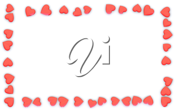 Valentine's Day abstract 3D frame or card made from small red, pink or rosy hearts on white background.