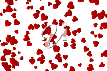 Valentine's Day abstract 3D illustration pattern with randomly placed red hearts on white background.