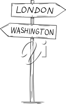 Artistic drawing of old wooden two directional road arrow sign with city London and Washington texts.