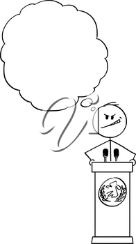 Vector cartoon stick figure drawing conceptual illustration of evil man or politician speaking or having speech to public or followers on podium behind lectern.