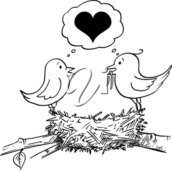 Vector cartoon drawing conceptual illustration of loving couple of male and female birds in love building nest and thinking together about heart symbol