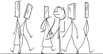 Vector cartoon stick figure drawing conceptual illustration of people or pedestrians walking on the street with mobile phone or smartphone as head. Ordinary man is looking at it amazed. Concept of addiction.