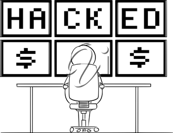 Vector cartoon stick figure drawing conceptual illustration of man or businessman sitting in front of six computer monitors mounted on wall, and watching the hacked text. Concept of cyber crime.