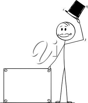 Cartoon stick figure drawing conceptual illustration of greeting gentleman, man or businessman with retro top hat, mustache holding empty sign for your text.