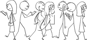 Vector cartoon stick figure drawing conceptual illustration of group of people or pedestrians walking on the street and using mobile phones or cell phones.