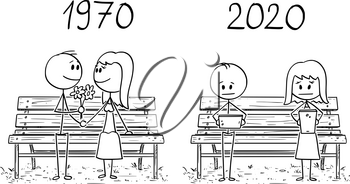 Cartoon stick drawing conceptual illustration of romantic loving couple sitting on park bench in 1970, and similar couple using phones and social networks in 2020.