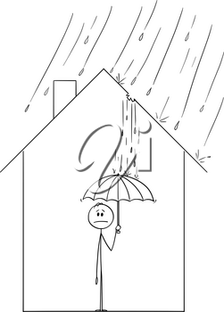 Vector cartoon stick figure drawing conceptual illustration of frustrated man holding umbrella inside his family house, because rain is coming through the hole in roof.