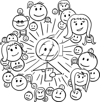 Cartoon stick drawing conceptual illustration of man and his social network connections, friends or community.
