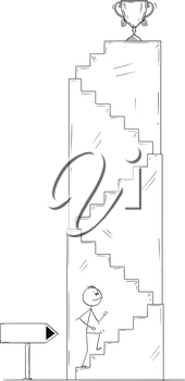Cartoon stick drawing conceptual illustration of man or businessman walking up the stairs for winner's trophy cup. Business concept of career and success.