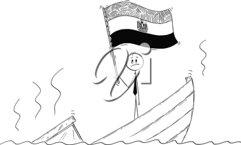 Cartoon stick drawing conceptual illustration of politician standing depressed on sinking boat waving the flag of Arab Republic of Egypt.