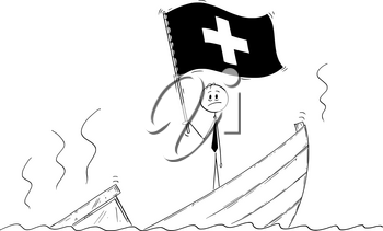 Cartoon stick drawing conceptual illustration of politician standing depressed on sinking boat waving the flag of Swiss Confederation or Switzerland.