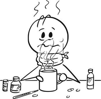Cartoon stick drawing conceptual illustration of sick man with influenza, flu, cold or fever drinking hot tea.