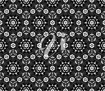 Lace vector fabric seamless  pattern with flowers. White on black