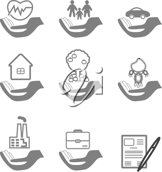 Vector insurance icons set- home and auto insurance, life insurance, insurance luxury items, insurance in agriculture, business risk insurance, the insurance package, the signing of the contract