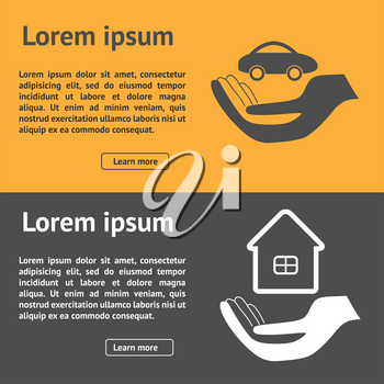 Insurance horizontal banner with property and car vector illustration. Can be used for web sites, app, flyers, brochures etc.