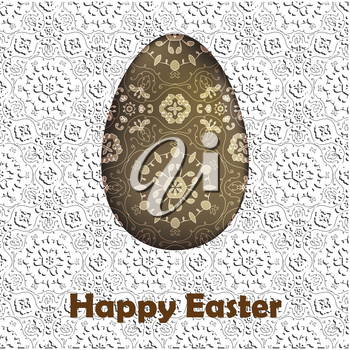 Happy Easter Card. Painted Easter egg on lace floral background with warm wishing text