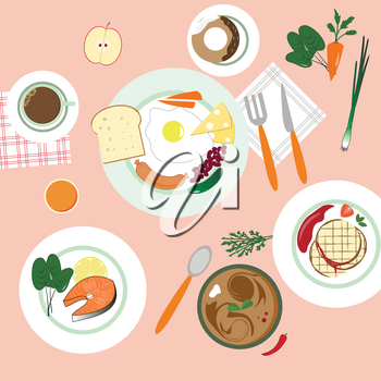 food in flat illustration style. Different dishes. Top view.