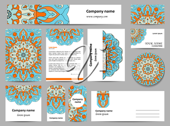 Stationery template design with mandalas. Documentation for business. Blue and orange colors