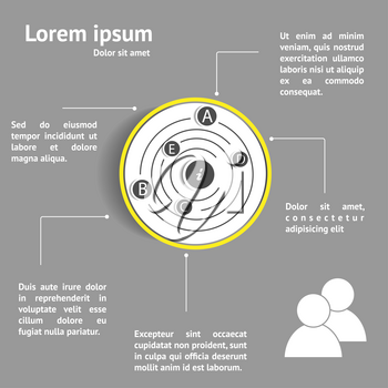 Circle design infographic template with space for text.