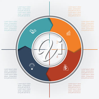 Template for Infographics business conceptual cyclic processes, colour ring from arrows four positions for text area, possible to use for workflow, banner, diagramme, web design, timeline, area chart