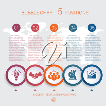 Charts business infographic step by step 5 positions colorful bubbles