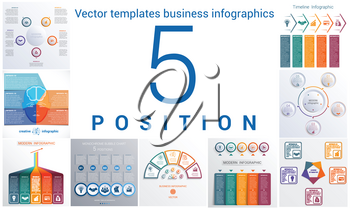 Set colorful templates for infographic 5 positions