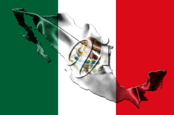 Mexican National Flag With Eagle Coat Of Arms In Shape Of Mexican Map 3D Rendering