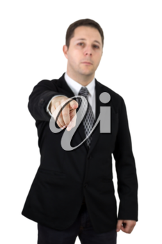 Businessman in Black Suit Pointing Index Finger Towards Camera. Focus On The Hand and Finger. Isolated On White Background