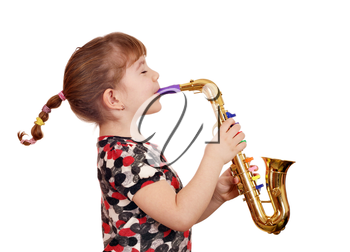 beautiful little girl play music on saxophone