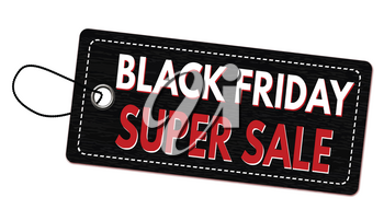 Black friday super sale label or price tag on white background, vector illustration
