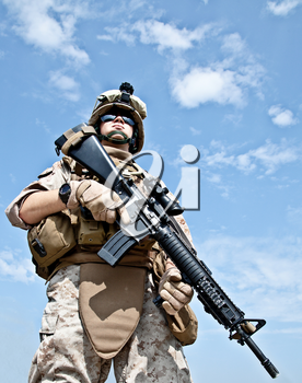 Close-up photo of US marine shot from below