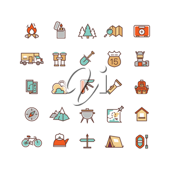 Camping and hiking flat vector icons for infographics. Travel icon hiking and outdoor camping for hiking tourism illustration