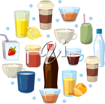 Non alcoholic drinks vector concept in circle design. Non-alcoholic beverage and illustration composition with beverage soda in bottle and tasty lemonade