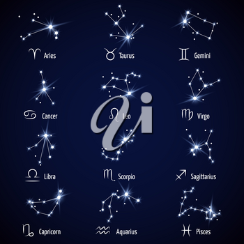 Zodiac signs. Vector set of astrology horoscope icons, illustration constellation for horoscope