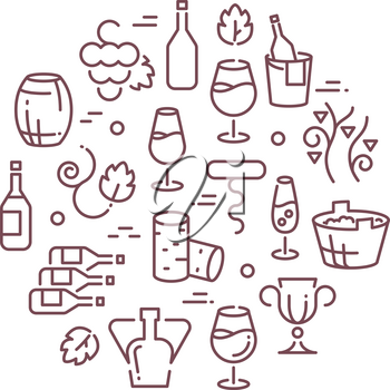Wine vector logo with outline icons. Outline logo with wine, illustration bottle of wine and accessories