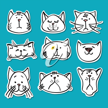 Cute doodle cats stickers collection. Set of white cats. Vector illustration