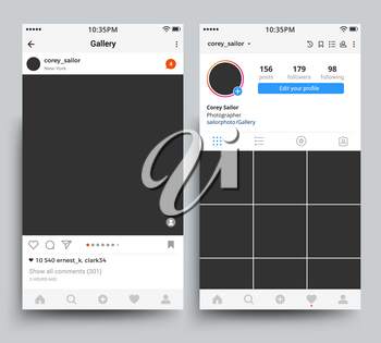 Smartphone photo frames display of mobile application inspired by instagram vector template. Illustration of mobile phone application with photo frame and comments