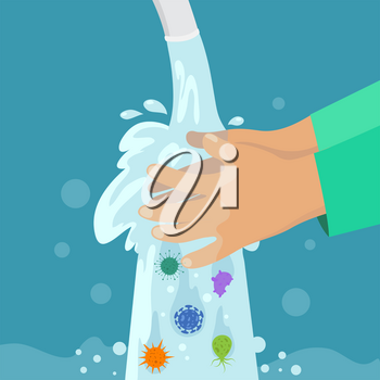 Kid washing hands. Clean hand without germs and bacterias under faucet. Childrens handwashing, virus protection vector concept. Illustration of hand wash water, care health and hygiene prevention
